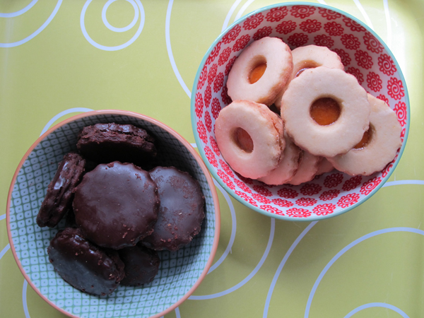 chocolate and apricot sablés