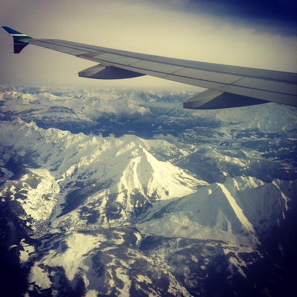 Flying over the Swiss Alps on my way to Beirut in December 2012 © Will Travel for Food