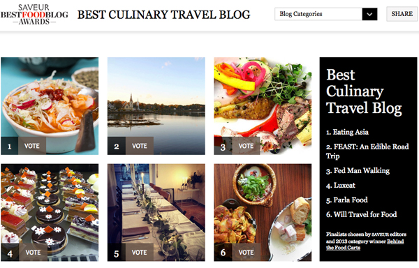Will travel for food a finalist in saveur magazines best food blog saveur magazine best blog award forumfinder Image collections